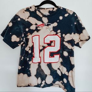 Tom Brady Patriots Football Bleached Tie Dye Tee